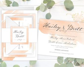 SAMPLE Peaches & Cream Wedding Invitation Suite - Wedding Invitation SAMPLE - Watercolor Wedding Invitations - Vintage Wedding - #wdi-280