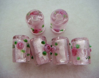 6 pretty clear pink silver foil tube glass beads 16mm