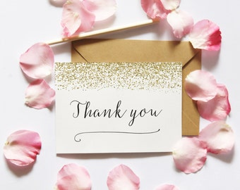 Thank You PRINTABLE CARD, Thank You Card, Printable Wedding Stationery, Thank You Digital Download, Gold Printable Thank You, Thanks E-Card