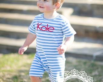 Boy's Custom Monogram Romper - Blue & White - Summer outfit - Monogrammed Romper / Jon Jon- Shower gift - Summer Bubble