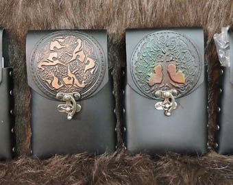 Instock 8oz Hip Flask or Cell Phone Leather Belt Pouch, Embossed Patches, Handmade, Renaissance, Cos Play, LARP