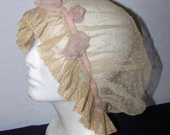 Beautiful Vintage Lace Boudoir Cap Adorned With Silk Chifffon Rosettes