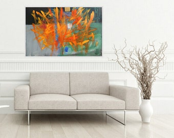 Abstract Large Painting, Landscape Modern Artwork, Red Orange, Green Black, Grey Orange, Modern Art, colorful Art, 100 x 70 cm