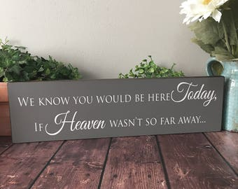 We Know You Would Be Here Today If Heaven Wasn't So Far Away Sign - Wedding Memorial Sign - Remembrance Table Sign - In Loving Memory Sign