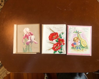 3 Vintage 1940s or 1950s Greeting Cards - NEVER USED ~ Get Well