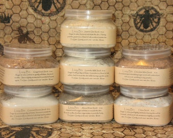 Fine sugar scrub with a variety of ingredients & just a touch of oil. 6 blends available for mani, pedi, face or body. 8 Fl. Oz. jar