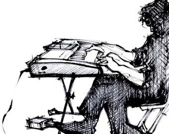 Ink Sketch of Keyboard Player