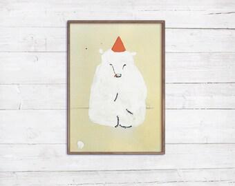 A4 Geburtstagsbär Print Poster Malerei auf Leinwand Vintage Altmodisch