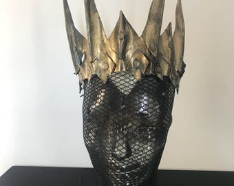 Gold Evil Queen handmade leather crown