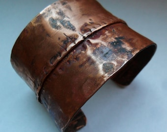 Fold Formed Copper Cuff Bracelet Mens or Womens