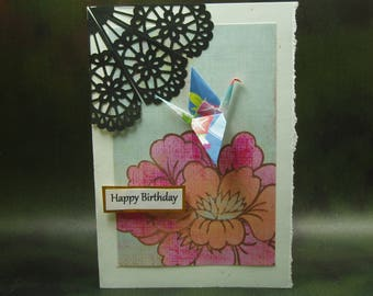 Happy Birthday Card/ Origami Crane Card/ Love Crane Card/ Hand Made Greeting Card/ Art Card
