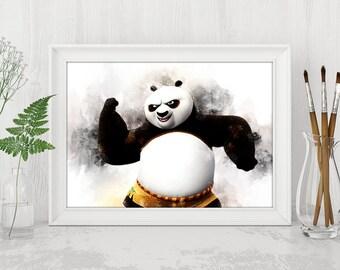 Watercolor Kung Fu Panda Printable Kung Fu Panda Print Kung Fu Panda Dreamworks Instant Download Birthday Printable Art n491