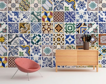 Wall Mural - Portuguese Tiles - Azulejos - Repositionable Adhesive Fabric - Self-Adhesive Wall Covering - Peel And Stick - SKU: PTTilesMur