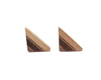 Small wooden earstuds triangle with sterling silver, gift for her and him