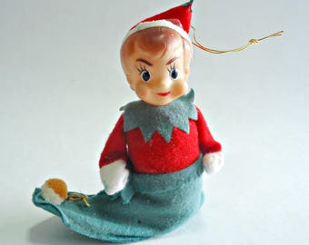 Vintage Christmas Elf in a Stocking Christmas Ornaments Decoration 1960's