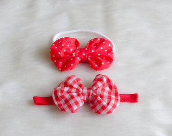 Baby Red and White Headband Set , Gingham , polkadots bow