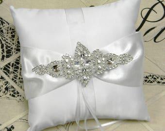 Ring Bearer Pillow, White or Ivory Ring Bearer Pillow, Crystal Rhinestone Wedding Ring Pillow, Satin Pillow, Traditional Wedding Decorations