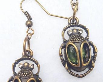 Green Beatle Earrings