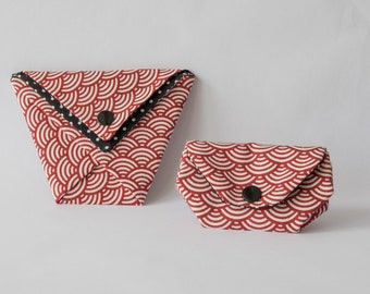 Set bears coin and Pocket origami motifs printed cotton Japanese fabric and red dots