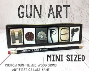 Gun Letter Art, Custom Gun Last Name Sign, Custom Gun Art Artwork, Gun Decor Decorations, Gun Gifts for Men, Gun Metal, Shoot Like A Girl