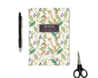 Notebook, dairy, personal diary, floral pattern notebook, notebook of trip, design painted by hand, stationery, gift idea
