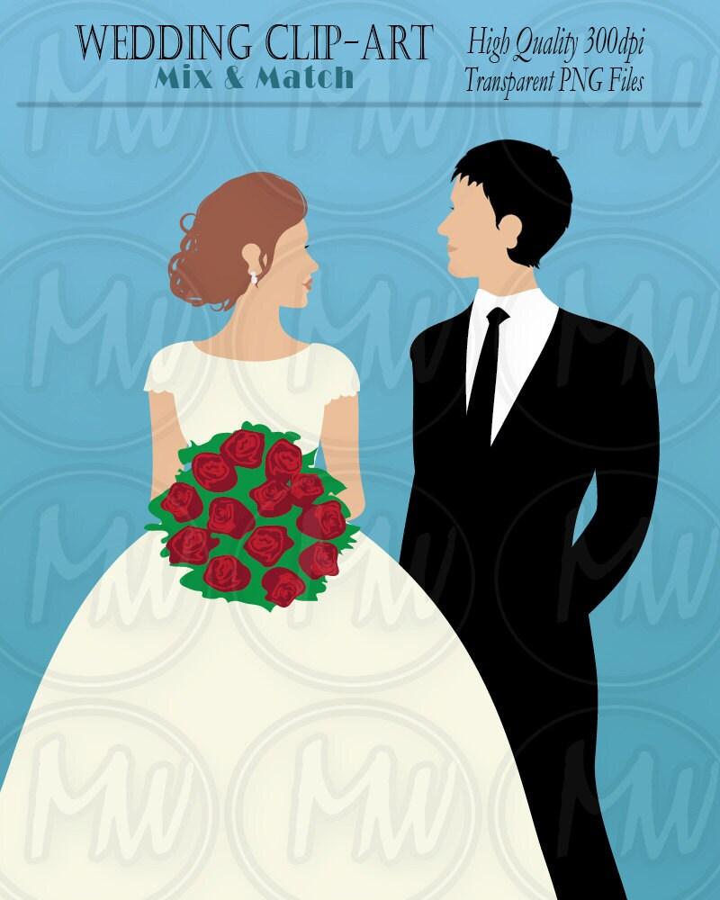 Wedding Clipart Bride Groom Color Wedding Clip Art Vector
