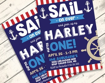Nautical Party Invitation, 1st Birthday, Sailor Party, Nautical Birthday  | DIY Instant Download PDF Printable