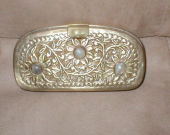 Vintage HARD SHELL Metal Filigree Evening Purse