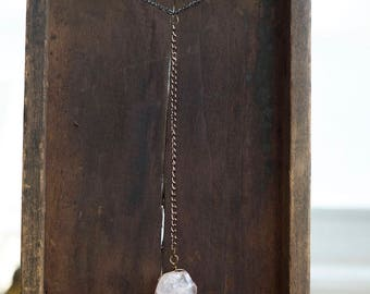 Gemstone Necklace • Rose Quartz Necklace • Raw Crystal • Gifts For Her • Rose Gold Necklace • Y Necklace • Lariat Necklace • Wiccan