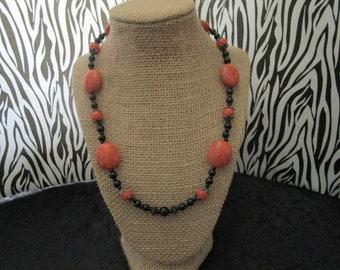 Orange & Black Pearl Necklace