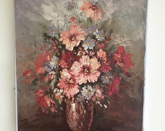 Vintage French floral oil painting