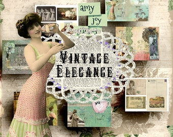 SALE  Vintage Elegance  Printable Journal Kit  Vintage Junk Journal  Ephemera Pack  Victorian journal  mini album  vintage women  postcards