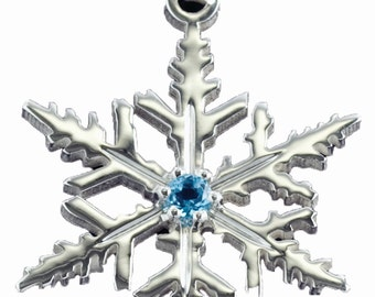 Sterling Silver Blue Topaz Handset Snowflake Necklace, Winter Jewelry