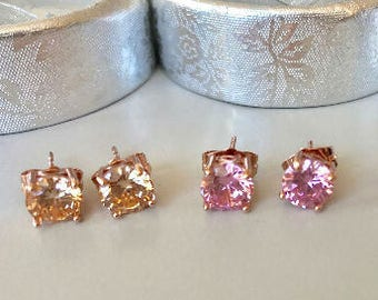 Beautiful handcrafted 18 Kt  ROSE GOLD   Solitaire Earring Studs-Choice of Pink Hue or Peach Hue-Wedding-Holiday gift