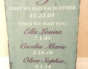 Custom Color First We Had Each Other Then We Had You Now we have Everything Family Names birthdates anniversary Hand painted distressed Sign