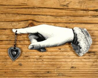 Heart on a String Brooch - Heart Brooch - Victorian Jewelry - Heart Jewelry - Rhinestone Jewelry - Shrink Plastic - Rhinestone Brooch