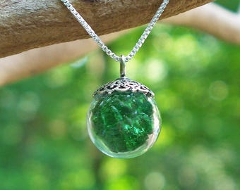 Recycled Reclaimed Vintage 1960s Emerald Green Beer Bottle and Sterling Silver Orb Necklace