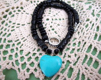 Turquoise Heart Black Bead Necklace, Layering style