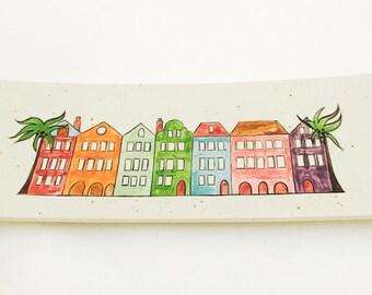 Rainbow Row Platter. Rainbow Row. Charleston. South Carolina.  Narrow Platter. Handmade By Sara Hunter.