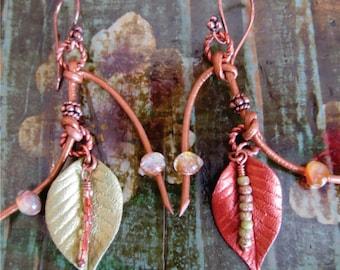 Leather Earrings Leaf Autumn