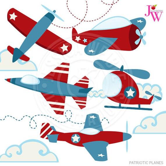 Patriotic Planes Cute Digital Clipart Airplane Clip Art