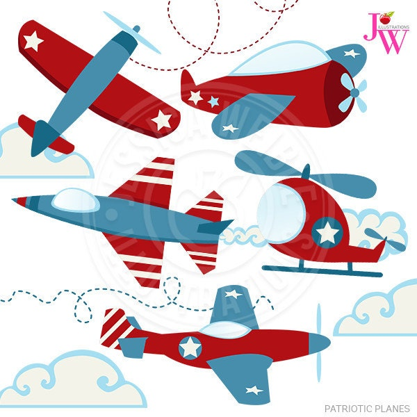 patriotic planes cute digital clipart airplane clip art rh etsy com red vintage airplane clipart vintage airplane clip art for baby shower
