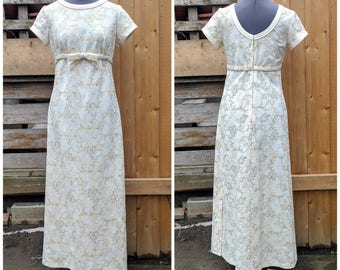 Vintage 1960s Cream Ivory Off White Embroidered With Gold Detail Empire Waist Full Length Evening Dress By Charm Fashions Made in Canada
