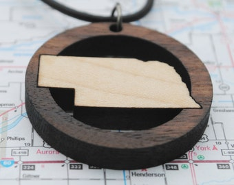 Wooden Nebraska State Necklace State Love Local Neighborhood Area Code Jewelry Hometown Home State Long Distance College Going Away Gift