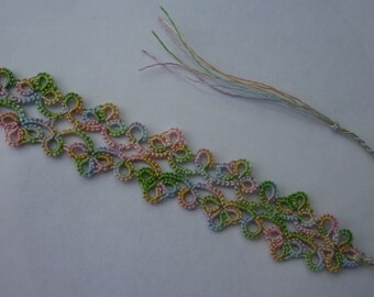 tatting lace bookmark in pastel rainbow