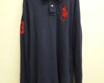 Vintage Polo By Ralph Lauren tshirt  big pony Long Sleeve Navy Blue Medium