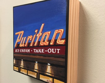 Puritan Neon Sign, Manchester, NH 6x6 acrylic painting on ready to hang wood panel.