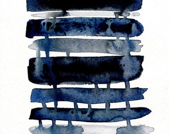 abstract watercolor painting print, indigo blue, black, gray