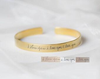 Adjustable Signature Cuff Bracelet - Handwriting Bracelet - Personalized Gift - Custom Handwriting Sympathy Gift - Mother Gift