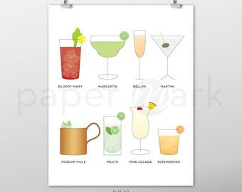 Cocktail Art, Cocktail Print, Bar Art, Bar Decor, Home Decor, Wall Art, Kitchen Decor, Wall Decor, Wall Hanging, Bar Decoration, Kitchen Art